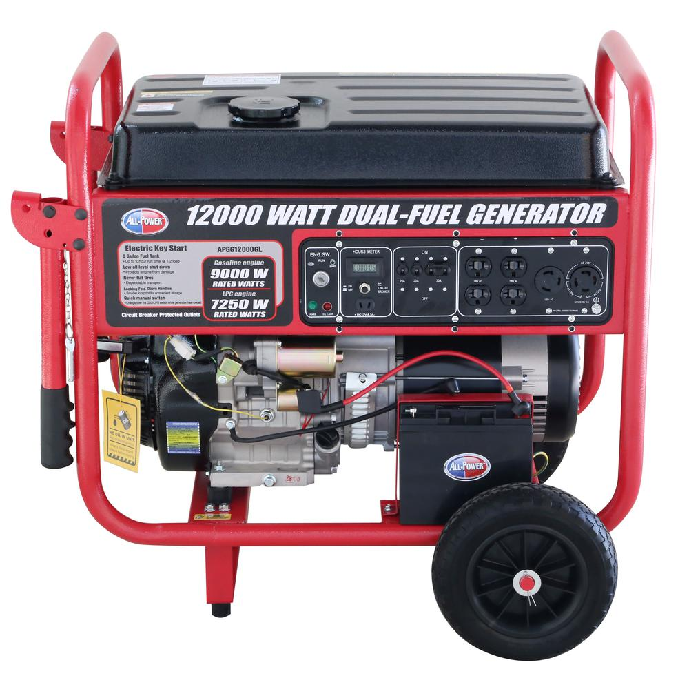 All-Power 12,000Watts Dual Fuel Propane and Gas Powered Electric Start Portable Generator