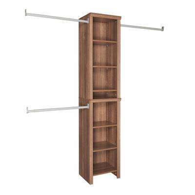 Impressions 14.57 in. D x 16.97 in. W x 82.46 in. H Walnut Narrow Laminate Closet System Kit