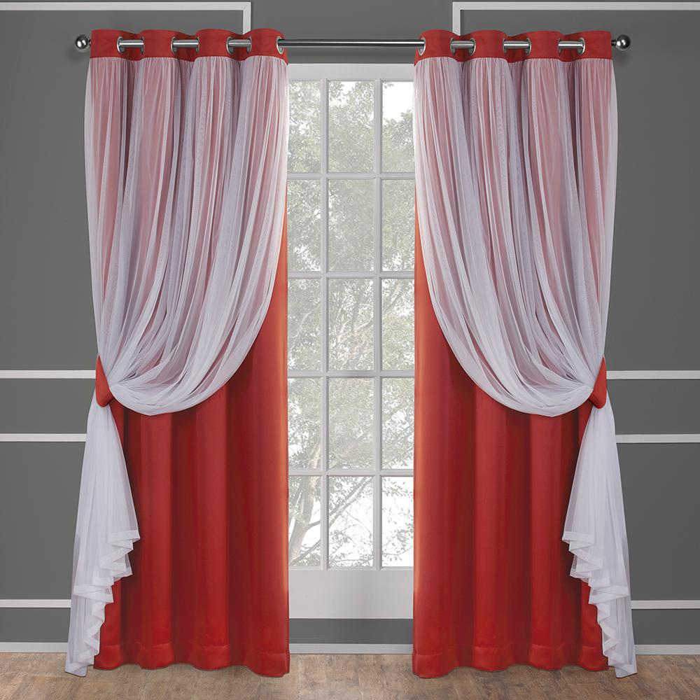 Catarina 52 In W X 96 L Layered Sheer Blackout Grommet Top Curtain Panel Y Orange 2 Panels Eh8257 03 96g The Home Depot