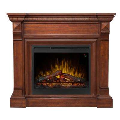 William 48-1/2 in. Freestanding Electric Mantel in Burnished Walnut
