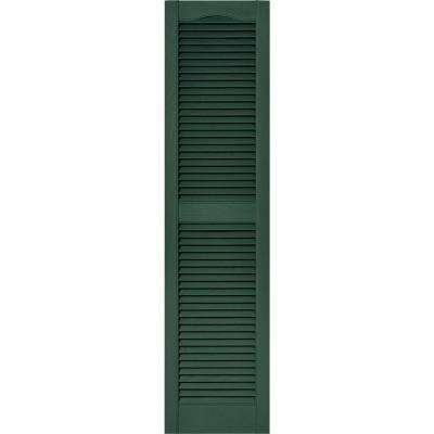 15 in. x 60 in. Louvered Vinyl Exterior Shutters Pair in #028 Forest Green