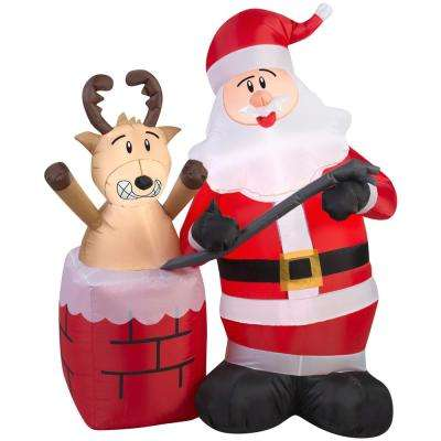 4 ft.  Inflatable Santa Claus with Reindeer Stuck in Chimney Scene
