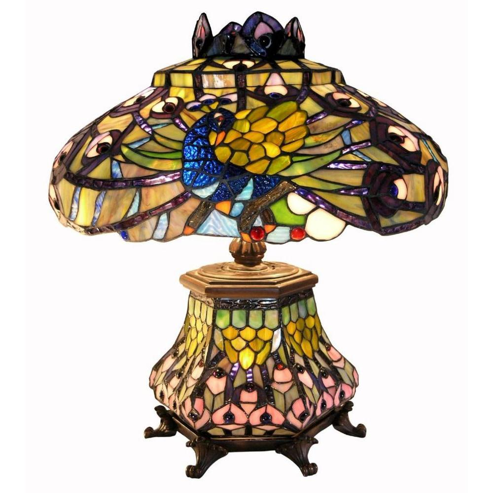 Warehouse Of Tiffany Peacock 25 In. Bronze Stained Glass Table Lamp