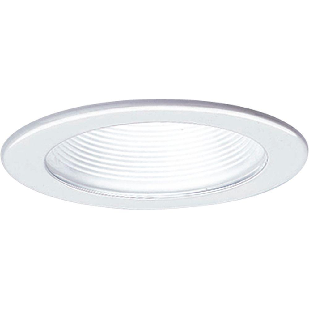 Progress Lighting 4 In. 12-volt White Recessed Baffle Trim