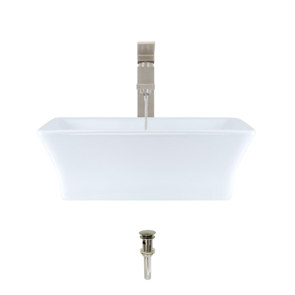 Porcelain Vessel Sink in White with 720 Faucet and Pop-Up Drain