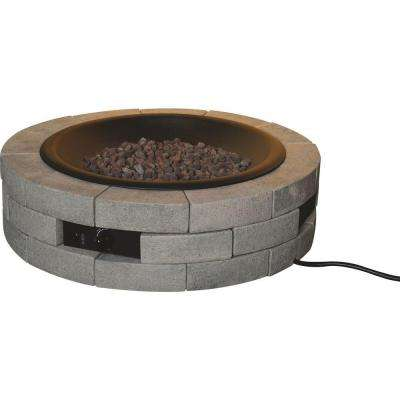 39 in. Round Gas Insert Stainless Steel Fire Pit with Brick Fire Table