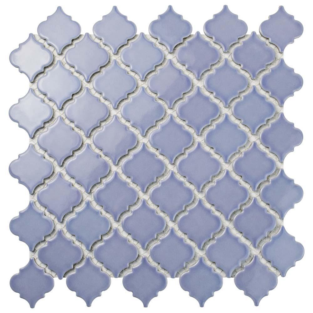 Hudson Tangier Lavender 12-3/8 in. x 12-1/2 in. x 5 mm Porcelain Mosaic Tile
