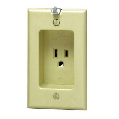 15 Amp Residential Grade 1-Gang Recessed Single Outlet with Clocked Hanger Hook, Ivory