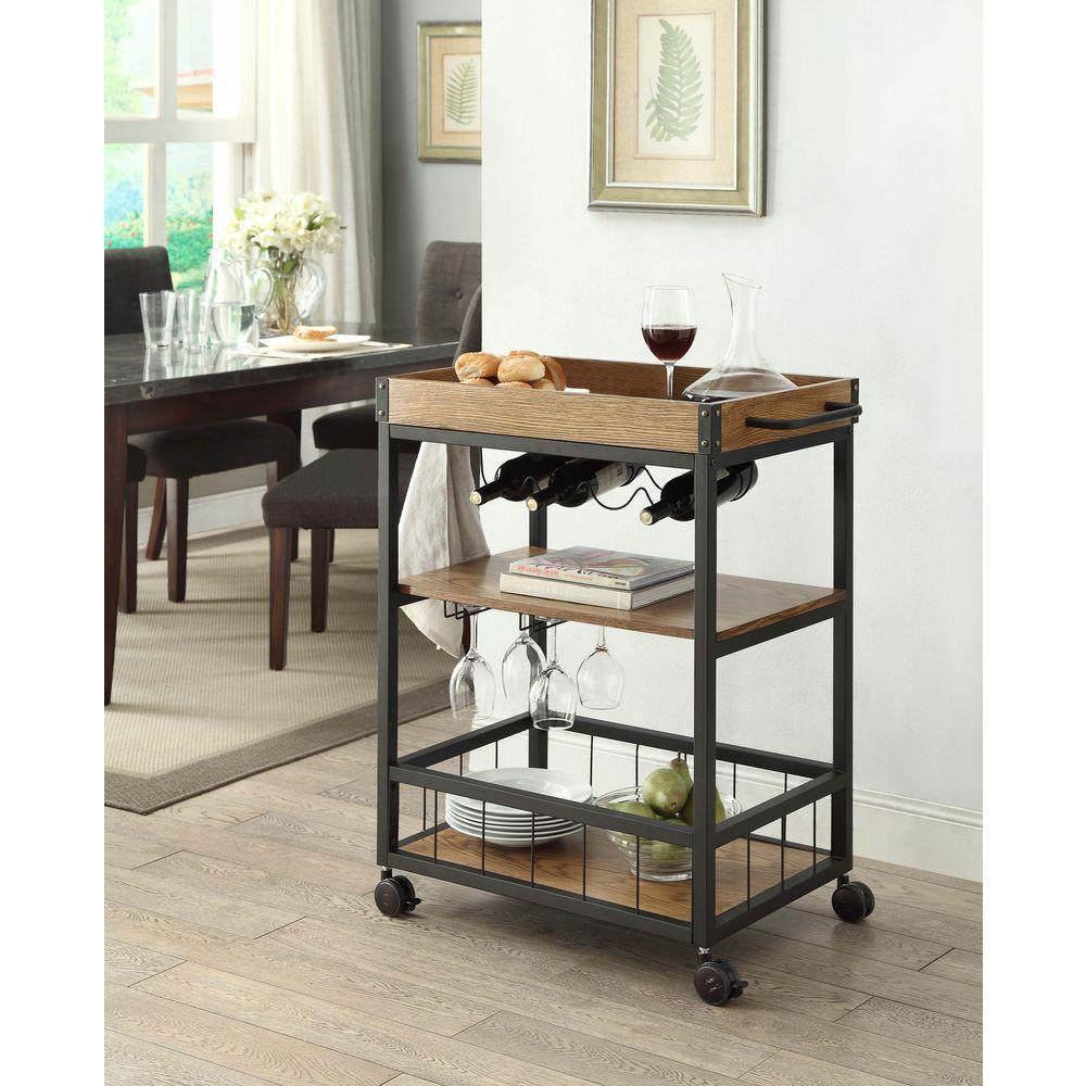 Linon Home Decor Austin Black and Brown Kitchen Cart-464908MTL01U ...