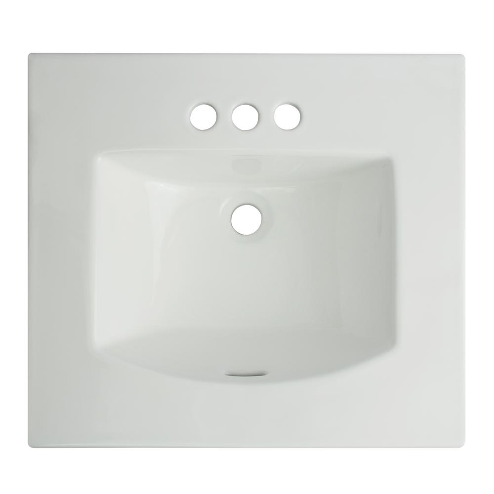 Glacier bay retro square drop in sink in white 13 0078 4w - Glacier bay drop in bathroom sink ...