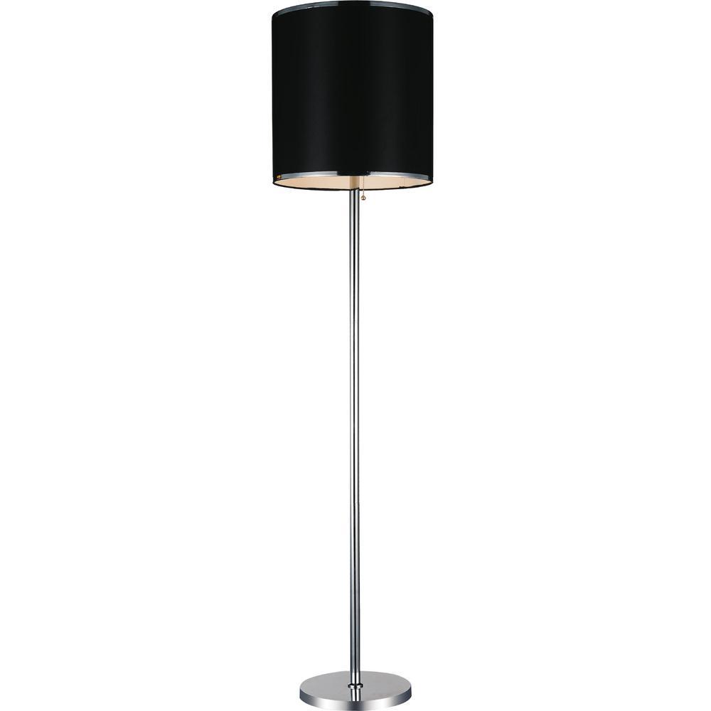 Chrome Floor Lamp With Black Shade