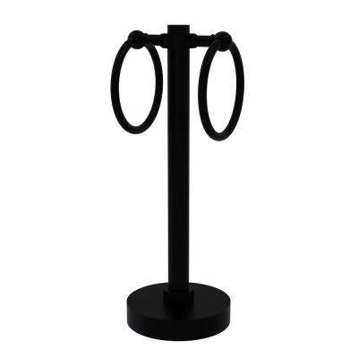Vanity Top 2-Towel Ring Guest Towel Holder in Matte Black