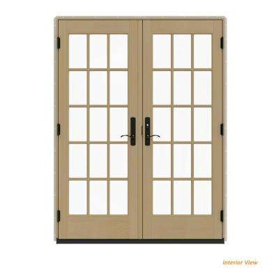 60 in. x 80 in. W-4500 Contemporary Desert Sand Clad Wood Left-Hand 15 Lite French Patio Door w/Unfinished Interior