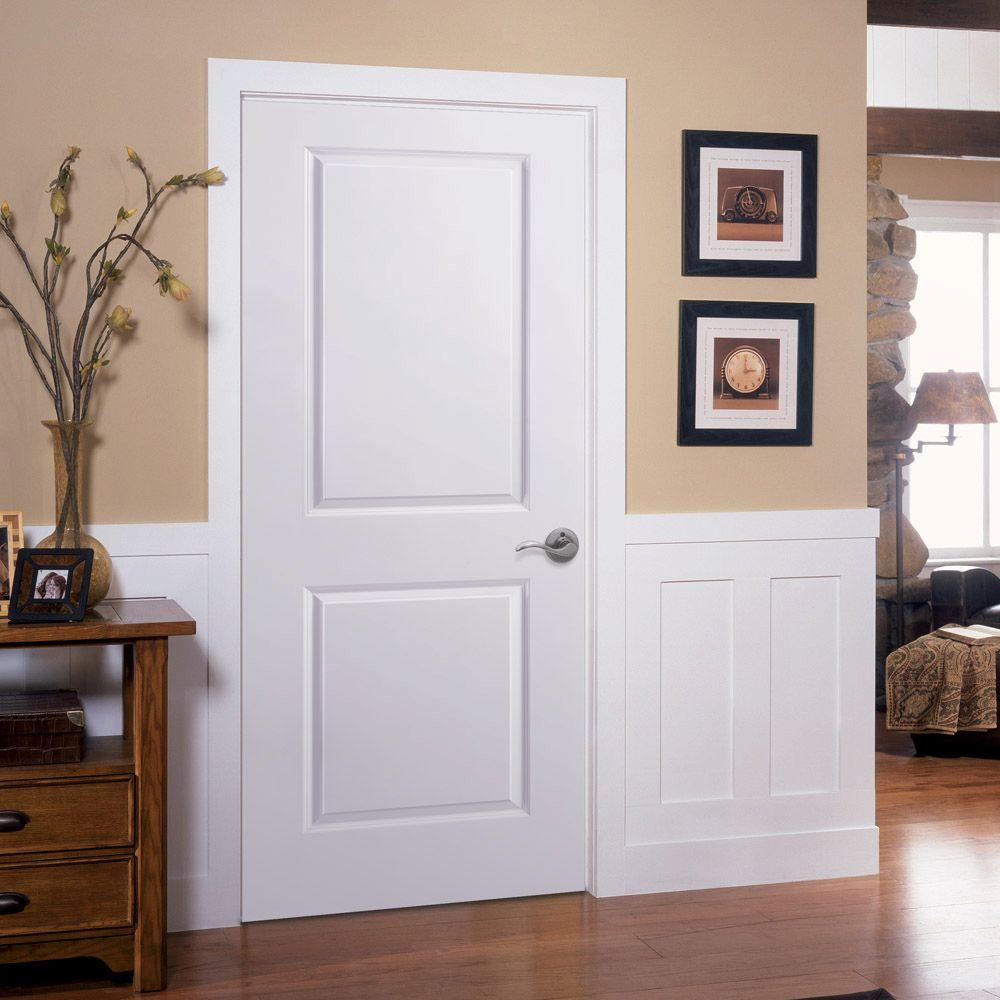 Masonite 36 In X 80 In 2 Panel Square Top Left Handed Hollow Core Smooth Primed Composite Single Prehung Interior Door