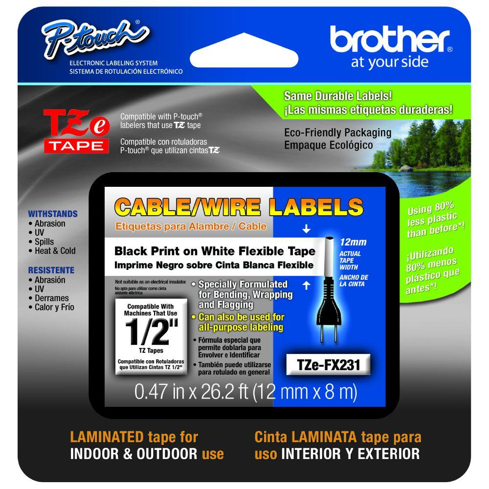 Brother TZ 12mm X 26-1/5 Ft. Cable/Wire Labeling Tape-TZe