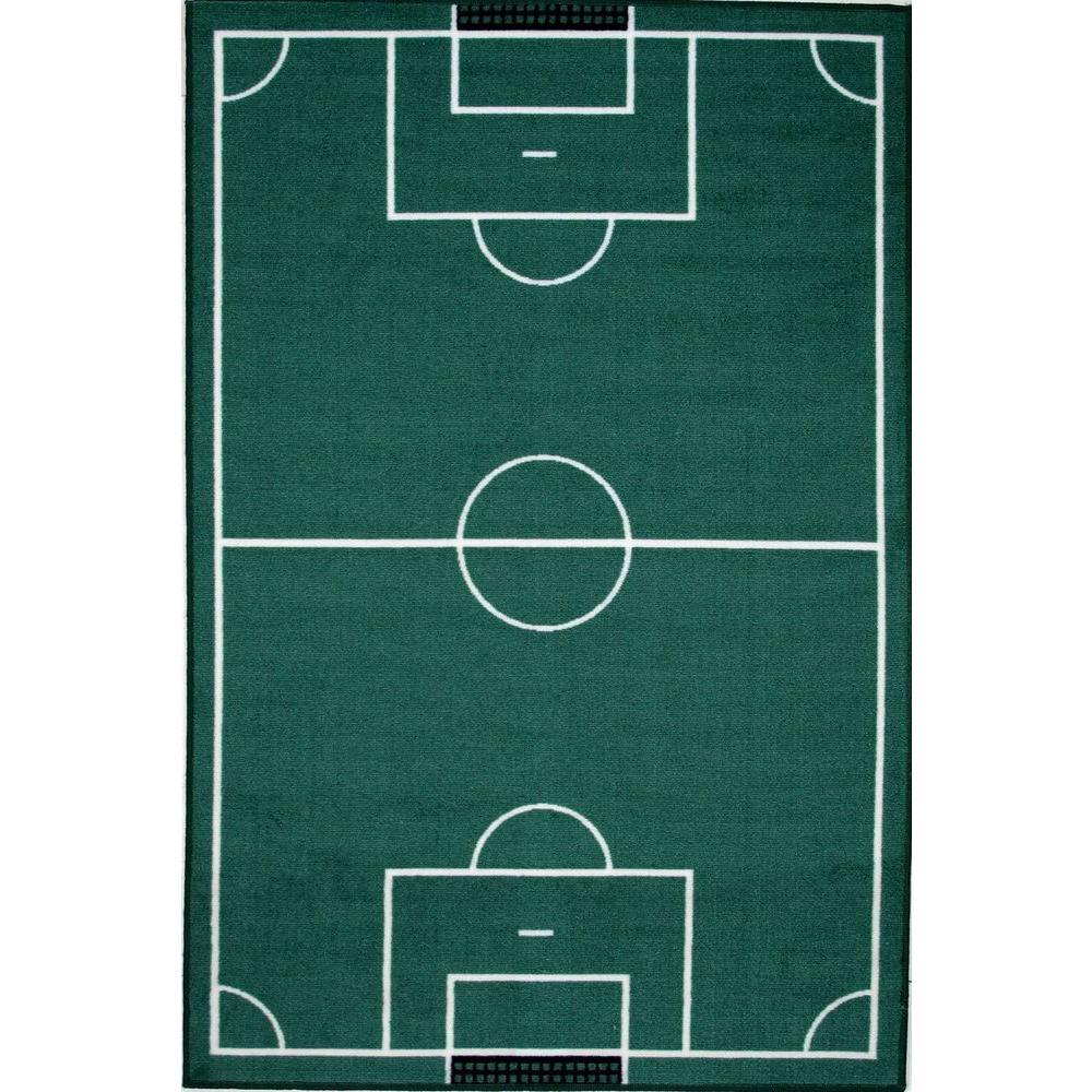 LA Rug Fun Time Soccerfield Multi Colored 39 In. X 58 In