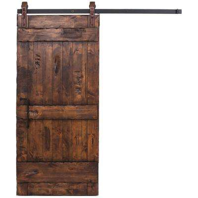 36 in. x 96 in. Ranch Stain Glazed Wood Barn Door with Maverick Sliding Hardware Kit and Angle Pull