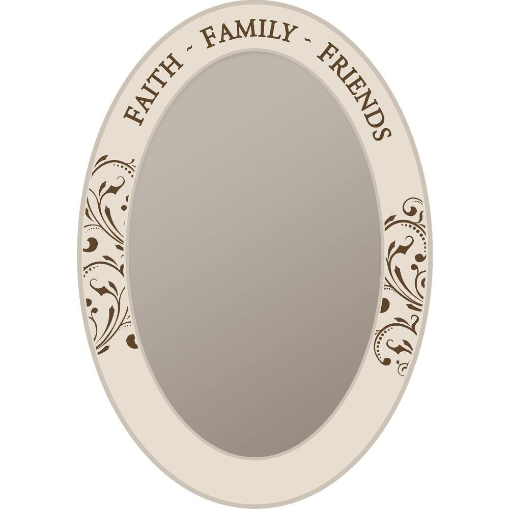 null 18 in. x 26.5 in. White Wood Faith Family Friends Framed Mirror