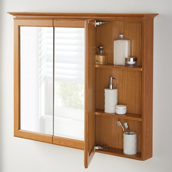Home Decorators Collection 36 5 8 In W X 29 1 4 In H Fog Free Framed Surface Mount Tri View Bathroom Medicine Cabinet In Oak 45438 The Home Depot