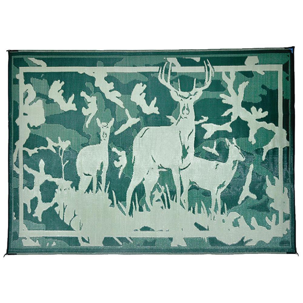 8 ft. x 11 ft. Deer Camo/Green Reversible Mat