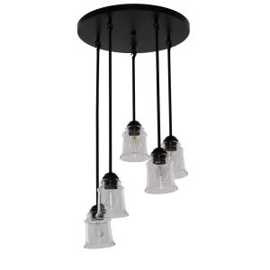 5-Light Oil Rubbed Bronze Pendant with Clear Glass Shades
