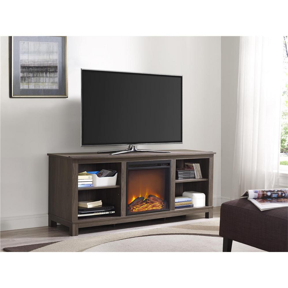 ameriwood edgewood 60 in distressed brown oak tv console with
