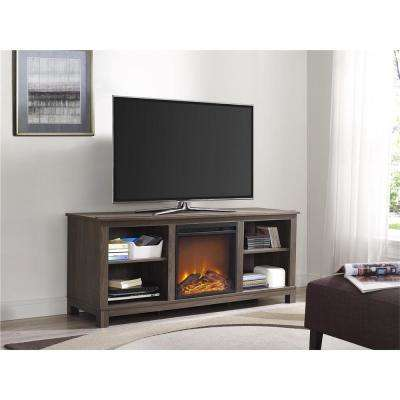 Edgewood 60 in. Distressed Brown Oak TV Console with Fireplace