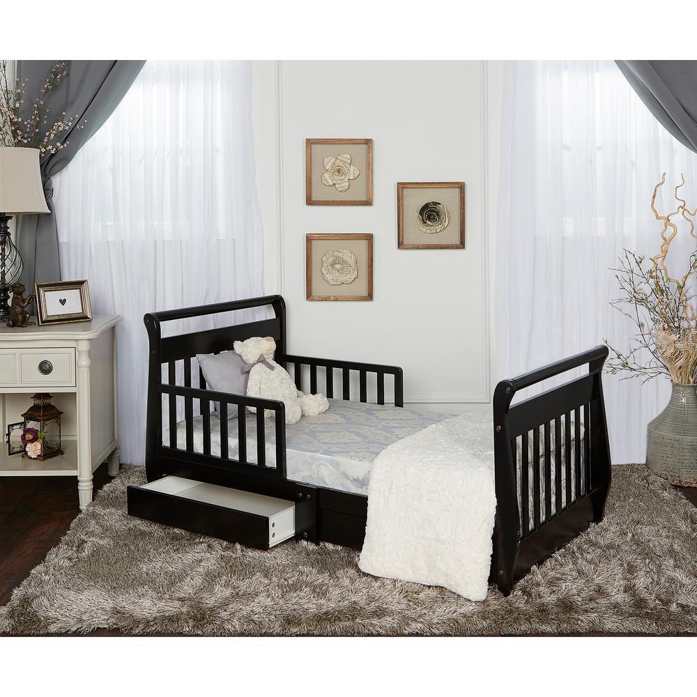 Black Toddler Adjustable Sleigh Bed with Storage Drawer