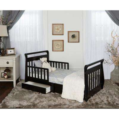 Black Toddler Adjustable Sleigh Bed with Storage Drawer