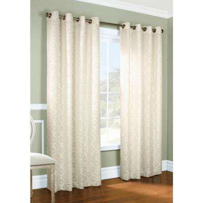 Anna 104 in. x 95 in. Lined Lace Grommet Panel in Ivory