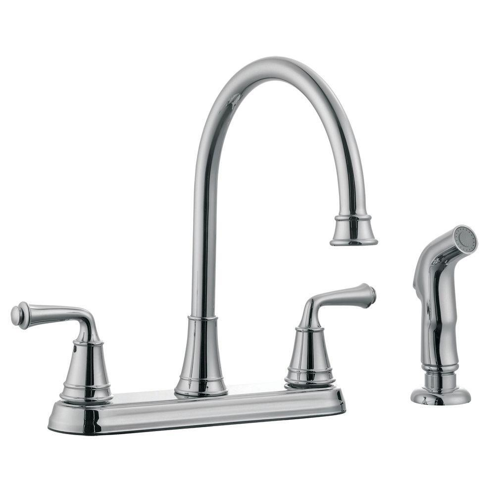 Design House Eden 2-Handle Standard Kitchen Faucet with Side Sprayer in Polished Chrome