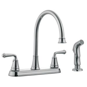 Eden 2 Handle Standard Kitchen Faucet With Side Sprayer In Polished Chrome Design House
