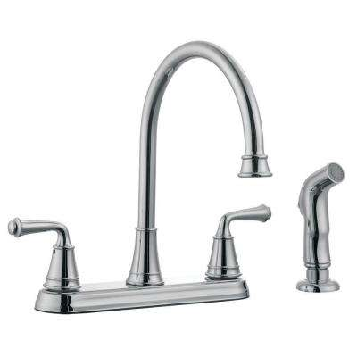 Eden 2-Handle Standard Kitchen Faucet with Side Sprayer in Polished Chrome
