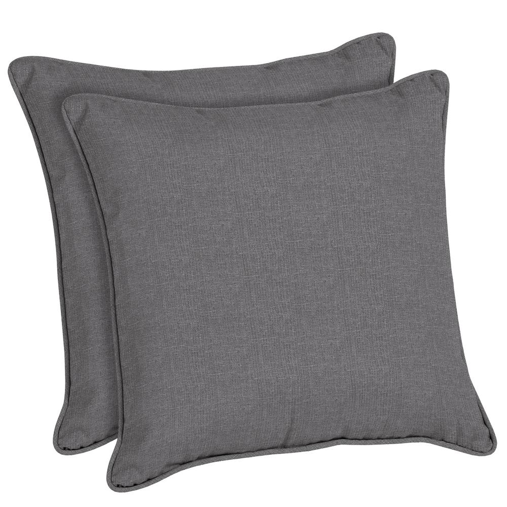 Home Decorators Collection Sunbrella Cast Slate Square Outdoor Throw Pillow (2-Pack)