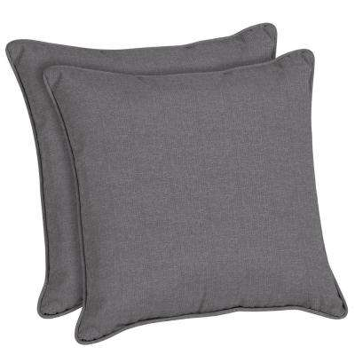 Sunbrella Cast Slate Square Outdoor Throw Pillow (2-Pack)