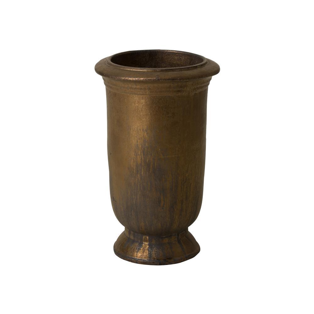 13.5 in. Dia Antique Gold Ceramic Round Tall Cup Planter