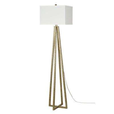 58 in. Silver Leaf Transitional Floor Lamp and LED Bulb