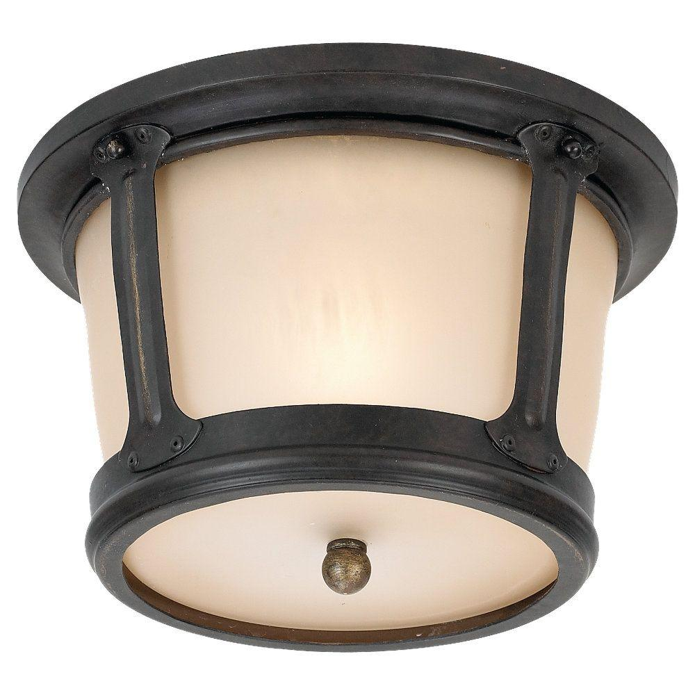 Sea Gull Lighting Cape May 1-Light Outdoor Burled Iron Ceiling Fixture