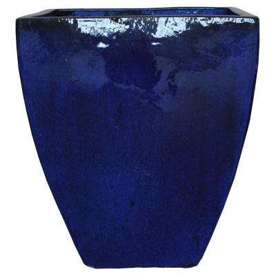 20 in. Blue Ceramic Bayshore Square Pot