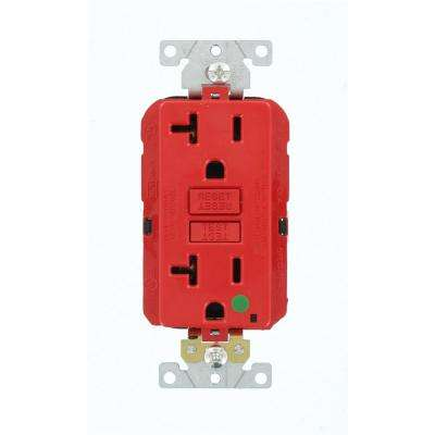 20 Amp Lev-Lok Modular Wiring Device SmartlockPro Hospital Grade Extra Heavy Duty GFCI Outlet, Red