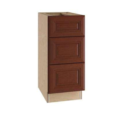 15x34.5x24 in. Lyndhurst Assembled Base Cabinet with 3 Drawers in Cabernet