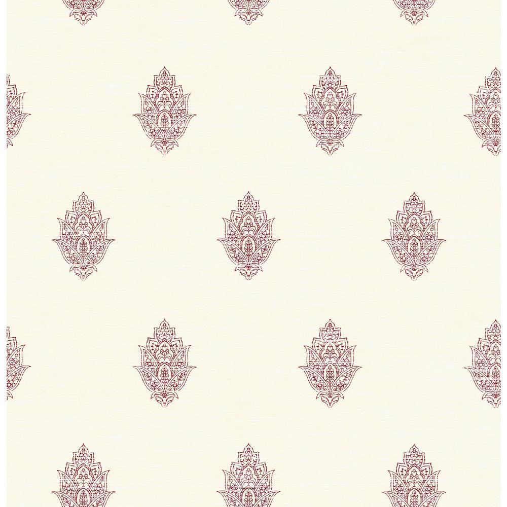 Seabrook Designs Garnet and White Paisley Spot Wallpaper CR73801