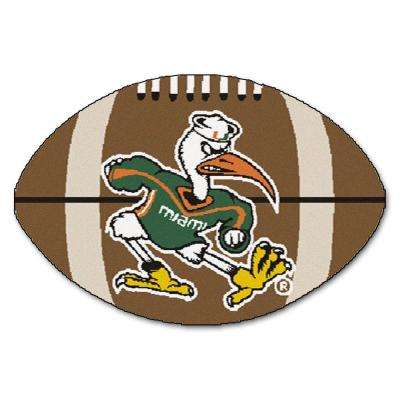 NCAA University of Miami Sebastian the Ibis Logo Brown 1 ft. 10 in. x 2 ft. 11 in. Specialty Accent Rug