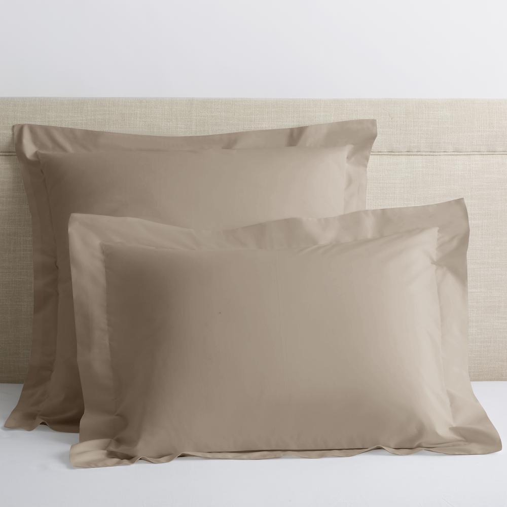 Organic Light Birch Solid 300-Thread Count Cotton Percale King Sham