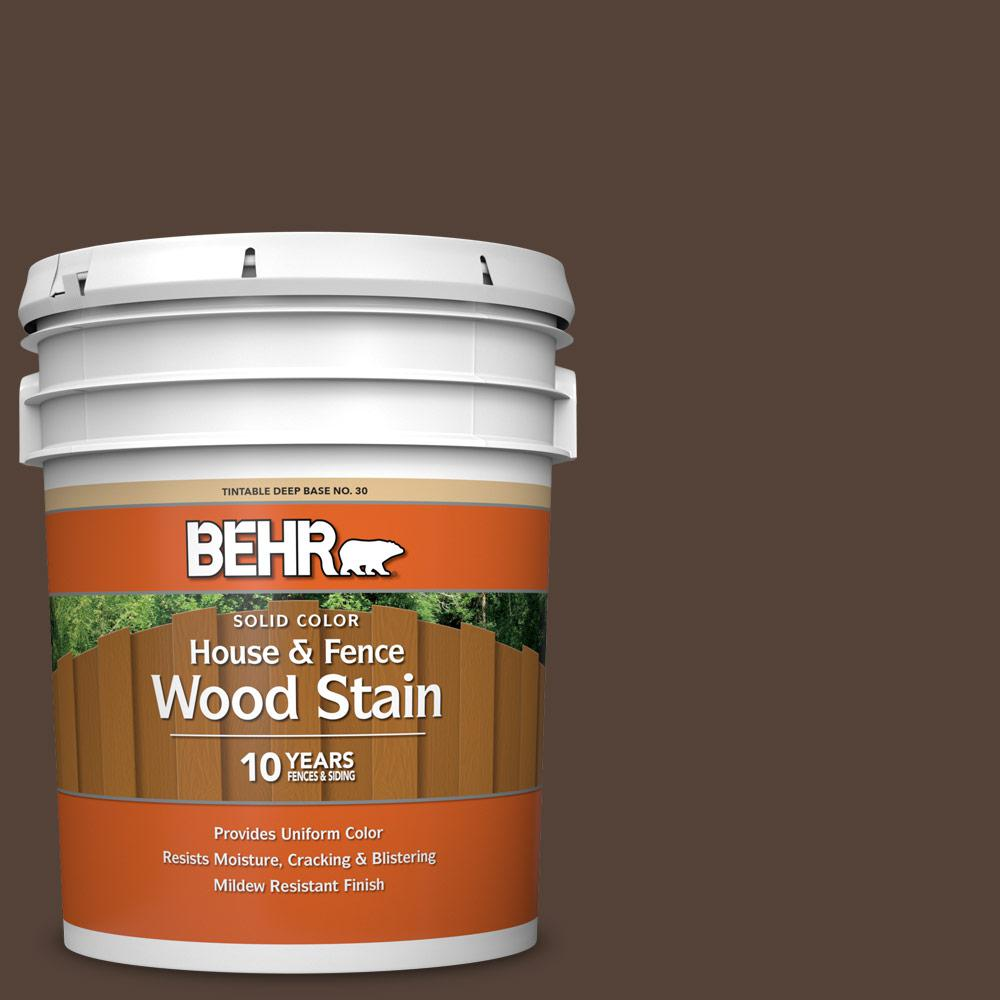 BEHR 5 gal. #PFC-25 Dark Walnut Solid Color House and Fence Exterior Wood Stain