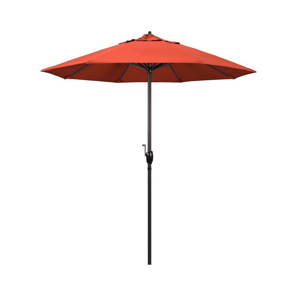 California Umbrella 7 5 Ft Bronze Aluminum Market Auto Tilt Crank Lift Patio Umbrella In Sunset Olefin Ata758117 F27 The Home Depot