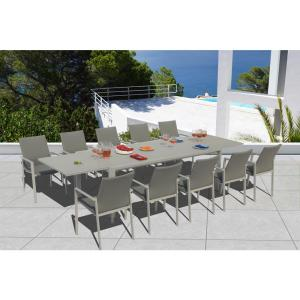 Ritz Grey Seagull 11-Piece Aluminum Outdoor Dining Set with Sling Set in Ash Grey