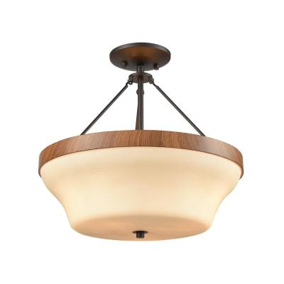 Park City 3-Light Oil Rubbed Bronze With Wood Grain And Light Beige Scavo Glass Semi-Flushmount