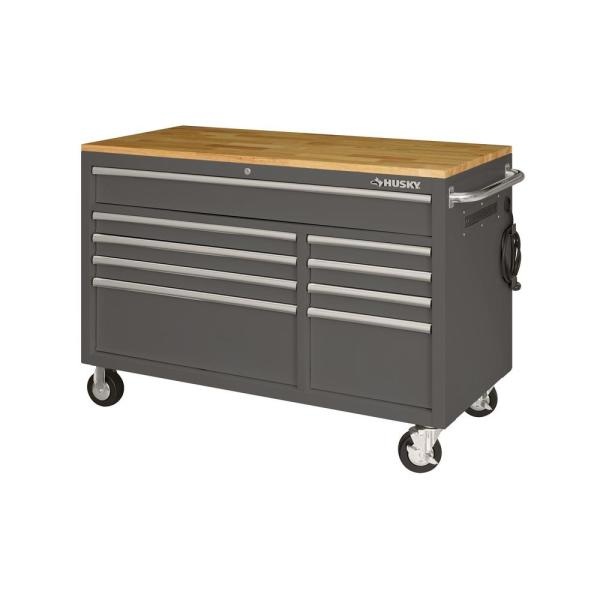 52 in. 9-Drawer Mobile Workbench in Gloss Gray