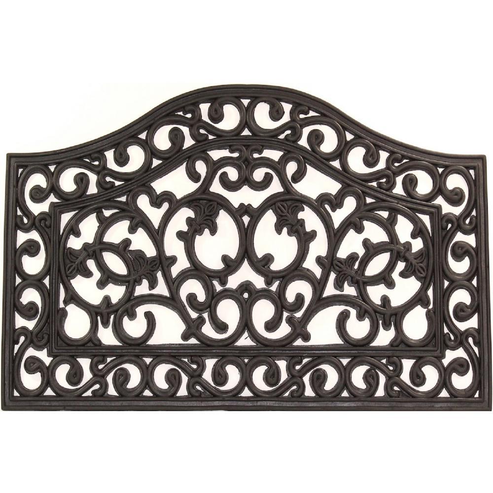 Wrought Iron Collection Black Scroll 30 In X 18 Rubber Outdoor Indoor Door Mat
